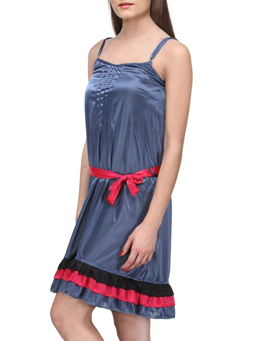 10a1849d55 Buy Blue Satin Night Dress by Fashigo - Online shopping for Sleepshirts    Nighties in India