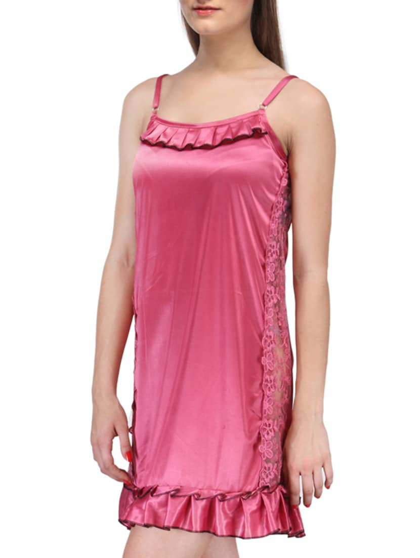 8ebaa8fe21 Buy Pink Satin Nighty by Fashigo - Online shopping for Sleepshirts    Nighties in India