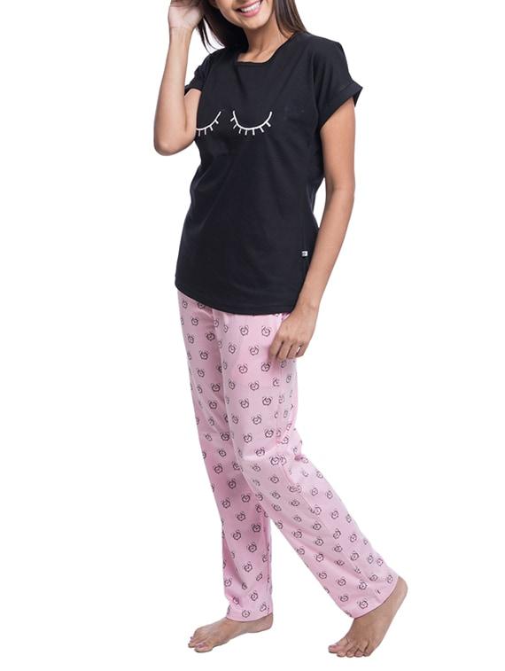 Buy Black Printed Cotton Nightwear Pajama Set by Nite Flite - Online  shopping for Nightwear Sets in India  55bcb04e7