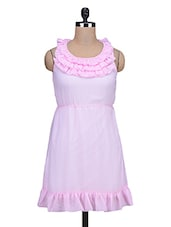 Baby Pink Frilled Poly Georgette Dress - By