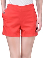Solid Red Cotton Lycra Shorts - By
