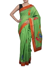 Green Cotton Art Silk Saree - By