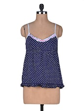 Navy Blue Printed Cotton Spandex Camisole - By