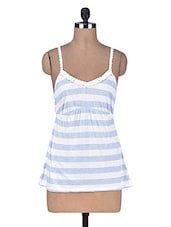 White And Blue Striped Cotton Viscose Camisole - By