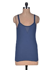 Solid Blue Cotton Camisole - By