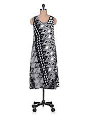 Monochrome Rayon Printed Maxi Dress - Florrie Fusion