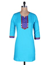 Turquoise Cotton Round Neck Kurti - By