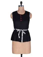 Black Cotton Top With Waist Belt - By