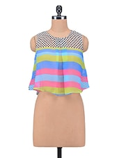 Multicolour Printed Poly Georgette Crop Top - By