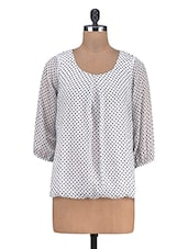White Polka-dotted Poly Chiffon Top - By