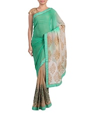 Mint Green And Beige Pritned Chiffon Saree - By