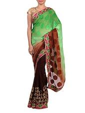 Embroidered Brown And Green Jacquard Saree - Izaa Fashion