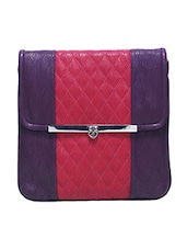 Textured Purple Faux Leather Sling Bag - By