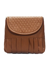 Textured Brown Faux Leather Sling Bag - By