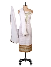 White Applique Embroidered Suit Set - By