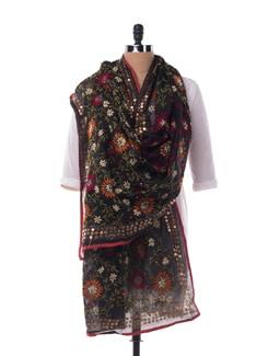 Black And Multi Hued Chanderi Silk Dupatta - Vayana