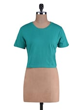 Teal Knitted Cotton Cropped T-Shirt - By