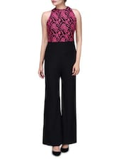 Pink And Black Polyspandex Jumpsuit With Lace Embroidery - By