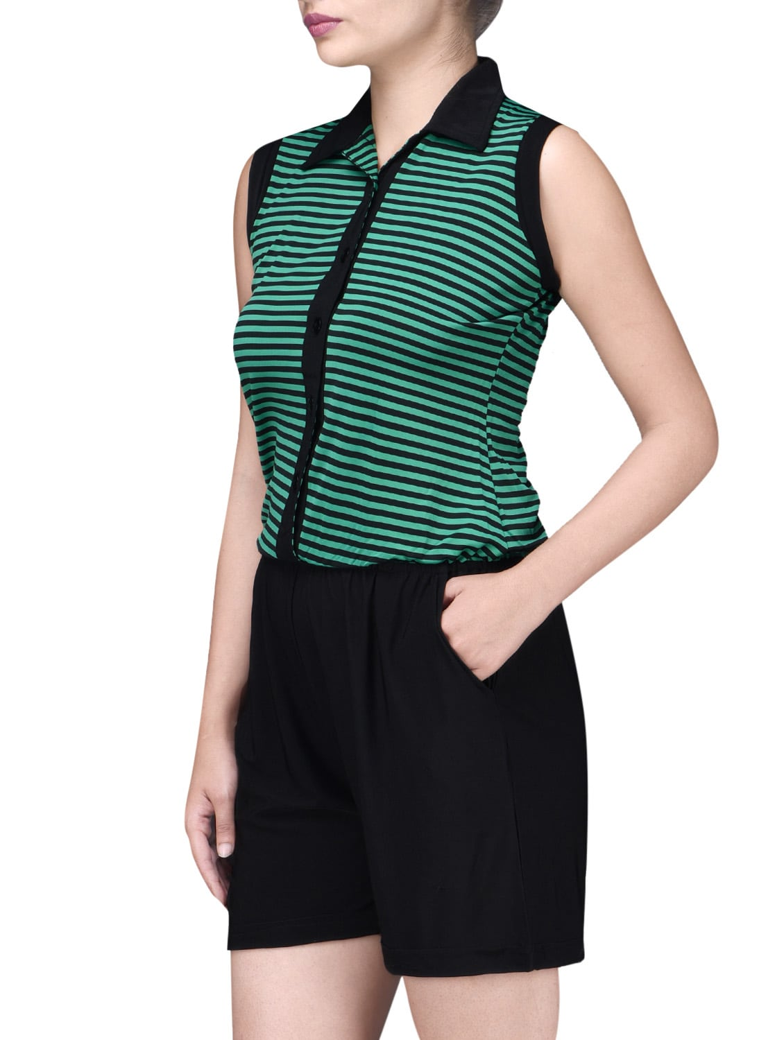 5ae631edec1f Buy Black And Green Polyspandex Striped Jumpsuit by Lee Douche - Online  shopping for Jumpsuits in India