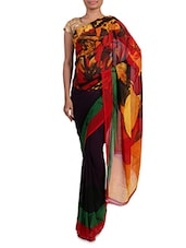 Multicoloured Printed Georgette Saree - Admyrin - 1201932