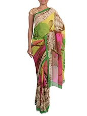 Multicoloured Printed Georgette Saree - Admyrin - 1201950