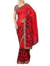 Red Floral Print Georgette Saree - By