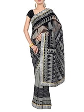 Grey And Black Printed Georgette Saree - By