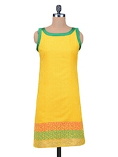Yellow Sleeveless Jacquard Chanderi Silk Kurti - By