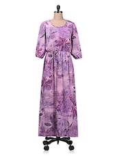 Purple Floral Printed Poly Crepe Maxi Dress - By