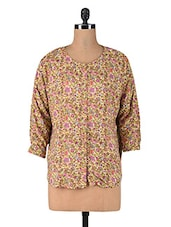 Light Brown Floral Printed Rayon Shirt - By