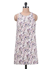 White Printed Polyester Dress - By