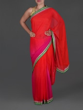 Pink And Red Ombre Georgette Saree - Roop House
