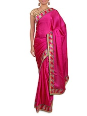 Pink Satin Saree With Multicoloured Border - By