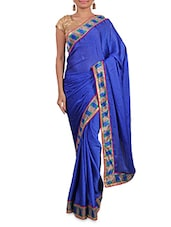Royal Blue Satin Saree With Multicoloured Border - By