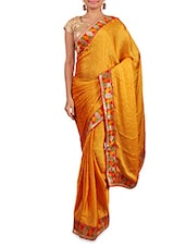 Yellow Satin Saree With Multicoloured Border - By