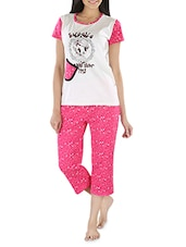 Pink And Cotton Cotton Capri Set - By