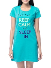 Blue Cotton Printed Sleep Shirt - By