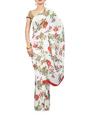 White Floral Print Georgette Saree - By