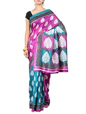 Printed Purple & Turquoise Art Silk Saree - By