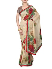 Beige Floral Print Georgette Saree - By