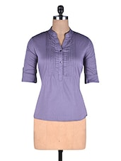 Purple Cotton Top With Buttons - By