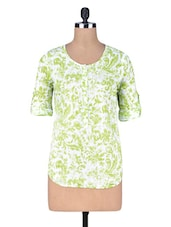 Green Printed Cotton Top - By