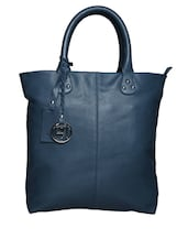 Solid Navy Pure Leather Tote Handbag - By