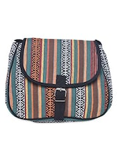 Multicolored Canvas Buckled Sling Bag - By