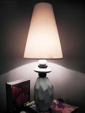 White Ceramic And Cotton Table Lamp - By