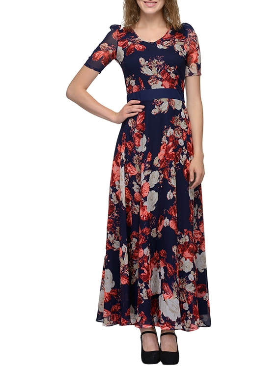 6c730dfe17 Buy Navy Blue Floral Print Georgette Maxi Dress for Women from Just Wow for  ₹1699 at 50% off