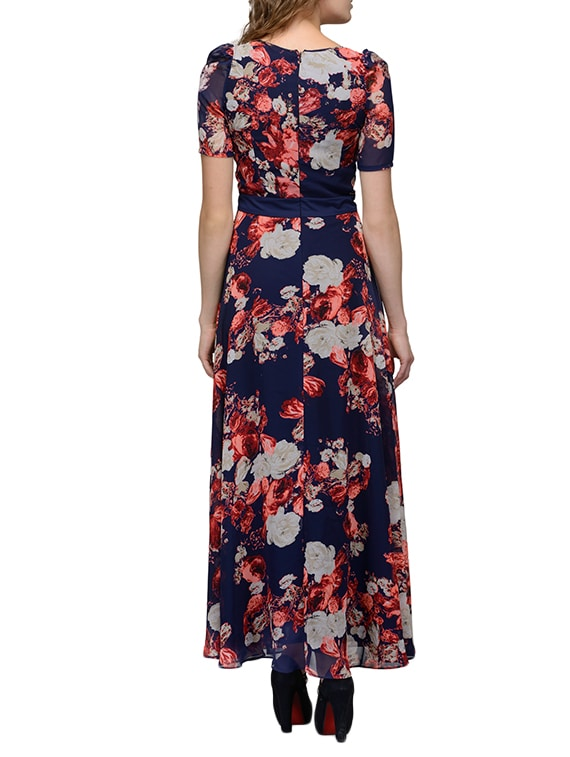 1f29c492b6 Buy Navy Blue Floral Print Georgette Maxi Dress by Just Wow - Online  shopping for Dresses in India