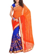 Embroidered Orange And Blue Chiffon Saree - By