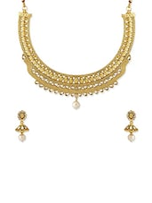 Antique Gold Metal Necklaces And Earring - By