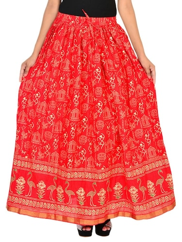 red cotton flared skirt - 12086521 - Standard Image - 1